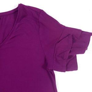 White House Black Market Dresses - WHBM Short Sleeve V-Neck Ruffle Sleeve Knit Dress